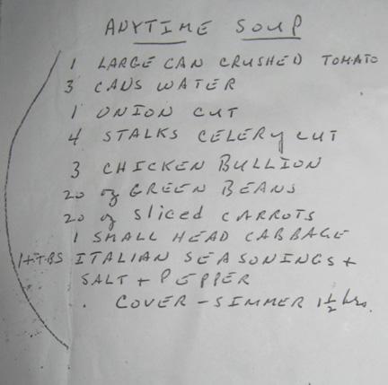 anytime soup handwritten